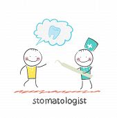 stomatologist who listens to the patient tells the story of a bad tooth