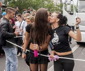 Unidentified Lesbians Kissing During Gay Pride.