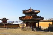 stock photo of mongol  - Buildings in ancient Buddhist monastery Amarbayasgalant in Mongolia  - JPG