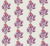 Neon fairytale flowers with tendrils seamless pattern