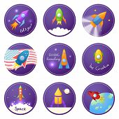 Cartoon rocket 3D vector illustration set