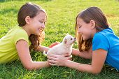 foto of twin baby girls  - twin sister kid girls and puppy dog happy playing with pet lying in backyard lawn - JPG