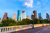 Houston skyline from Sabine St bridge Texas USA US America