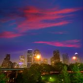 Houston skyline at sunset west downtown Texas USA US America