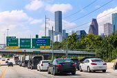 Houston Fwy traffic 10 Interstate in Texas USA US