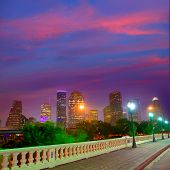 Houston skyline at sunset from Sabine St bridge Texas USA US America