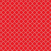 stock photo of red clover  - Repeating red and white quatrefoil trellis pattern - JPG