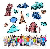 Large Group of Multiethnic Children Travel Destinations poster