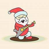 Cute cartoon of a Santa playing guitar on beige background for Merry Christmas and other occasion celebration.