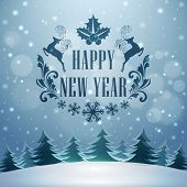 Happy New Year celebrations with stylish text and reindeer's on winter night background, can be used as poster, banner or flyer.