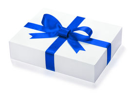 stock photo of box-end  - Single gift box with blue ribbon end a bow on white background - JPG