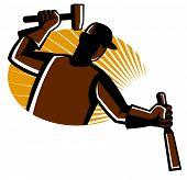 foto of chisel  - vector illustration of carpenter worker with hammer striking chisel set inside oval with sunburst - JPG
