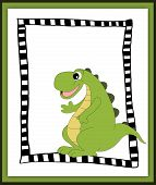 stock photo of waving hands  - Cartoon dinosaur waving hand in scrapbook style - JPG