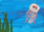 picture of jellyfish  - A vibrant painting of a jellyfish swimming under water - JPG