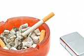 stock photo of cigarette lighter  - cigarette and metal lighter on white background closeup  - JPG