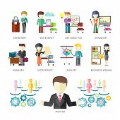 image of secretary  - Set of peoples professions isolated on with background - JPG