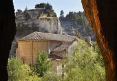 Постер, плакат: Landscape With Cave And Bartolome Hermitage In Soria Spain