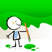 stock photo of little kids  - Little boy painting with green color - JPG