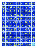 foto of luge  - Illustration Collection of 107 Winter and Summer Sport Icons in Yellow and Blue Colors - JPG