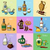 pic of alcoholic drinks  - Set of alcohol drinks and appetizer icons - JPG