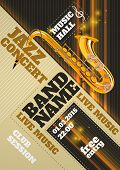 picture of clubbing  - Jazz music concert club invitation poster with saxophone vector illustration - JPG