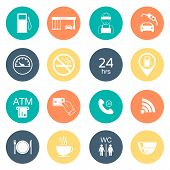 stock photo of glyphs  - 16 gas station icons - JPG