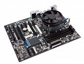 picture of cpu  - Computer motherboard isolated on white background with CPU cooler - JPG