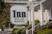 image of bed breakfast  - White sign for a bed and breakfast with vacancy - JPG