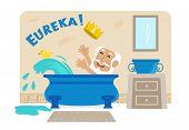image of physicist  - Cartoon illustration of Archimedes in his bathtub with the golden crown and the word Eureka at the top - JPG