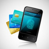 picture of fingerprint  - Biometric mobile payment concept with realistic smartphone with fingerprint login application and credit cards set vector illustration - JPG