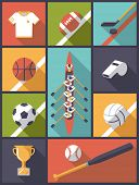 pic of team  - Flat Design Team Sports Icons Vector Illustration - JPG