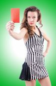 stock photo of umpire  - Woman judge isolated on the white - JPG