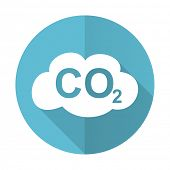 foto of carbon-dioxide  - carbon dioxide blue flat icon co2 sign  - JPG