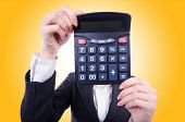 picture of nerds  - Nerd female accountant with calculator - JPG