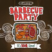 picture of food preparation tools equipment  - Bbq grill party poster with sketch meat and shaslick food vector illustration - JPG