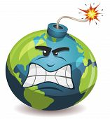 stock photo of bombshell  - Illustration of a cartoon earth planet bomb character angry and furious about to explode with burning wick isolated on white - JPG