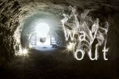 "stock photo of flood-lights  - Bright light bulbs at the end of the tunnel with smoke ""way out there""