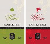 picture of cupid  - Two labels for red and white wine with grapes and Cupid - JPG