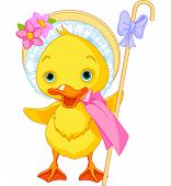 stock photo of shepherdess  - Illustration of Easter Duckling with shepherdess staff - JPG