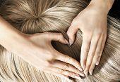 image of hair streaks  - Heart shape on blond hair - JPG