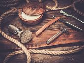 foto of shaving  - Shaving accessories on a luxury wooden background  - JPG