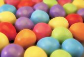 image of laying eggs  - Illustration of mini eggs laying on a slate table created using median noise reduction - JPG
