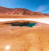 picture of salt mines  - Ojo del Mar in a salt desert in the Jujuy Province - JPG