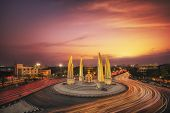 pic of democracy  - Moment of Democracy monument at Dusk  - JPG