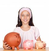 Little Girl With With Three Piggy-bank