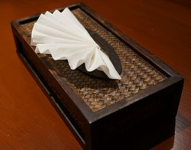 pic of tissue box  - White tissue paper was nicely decorated in tissue box on wooden table - JPG
