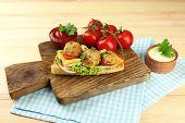 stock photo of meatball  - Meatball Sandwich on wooden table background - JPG