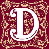 foto of letter d  - letter D vector image in the old vintage style - JPG