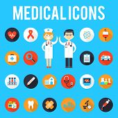 pic of medical staff  - Medical tools and medical staff flat icons - JPG