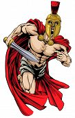 stock photo of spartan  - An illustration of a warrior character or sports mascot in a trojan or Spartan style helmet holding a sword - JPG